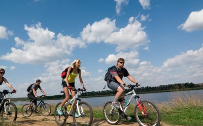 mirjana rastoke biking cyclers by river